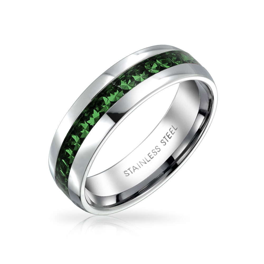 Bling Jewelry Simulated Emerald Crystal May Birthstone Eternity Band Steel