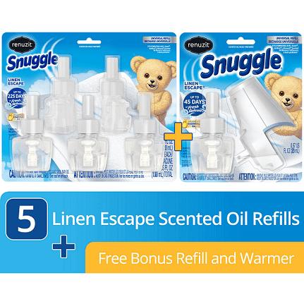 1 Free Oil Warmer + 1 Refill with purchase of Renuzit Snuggle Scented Oil Plugin Air Freshener, Linen Escape, 5 Refills