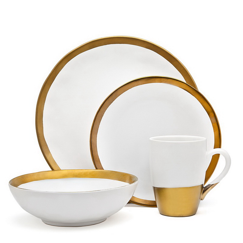 4-Piece Terre D'Or White and Gold Porcelain Dining Dinner Dinnerware Set by Godinger Silver Art