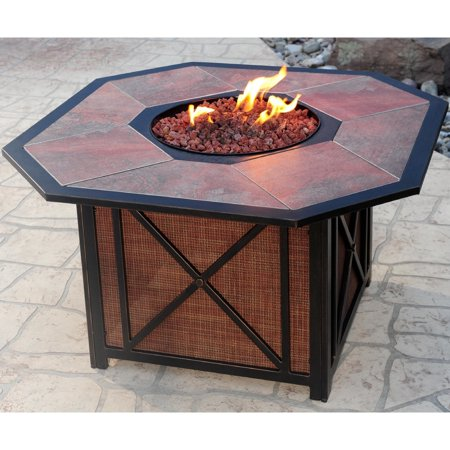 Oakland Living Corporation Premium Clarkston Octagonal Gas Fire Pit Table with Porcelain top, Red Lava Rock, and Aluminum Frame Red ()