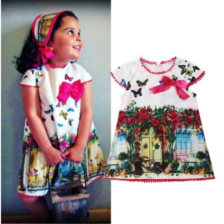 2019 Newest Summer Toddler Kids Girls´ Oil Painting Butterfly Casual Dress Sundress Clothes - Butterflies Clothing