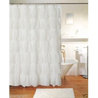 "Gee Di Moda Gypsy Ruffled Shower Curtain White 70"" wide x 72"" long"