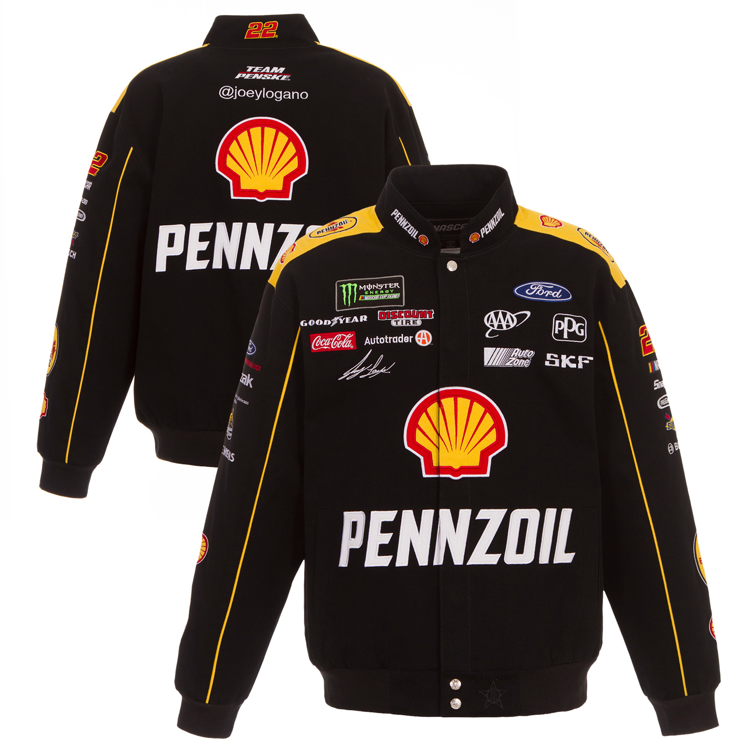 Joey Logano JH Design Pennzoil Full-Snap Twill Uniform Jacket Black Yellow by JH Design Group