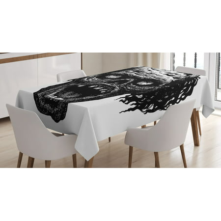 Halloween Scary Monsters (Halloween Tablecloth, Zombie Head Evil Dead Man Portrait Fiction Creature Scary Monster Graphic, Rectangular Table Cover for Dining Room Kitchen, 52 X 70 Inches, Black Dark Grey, by)
