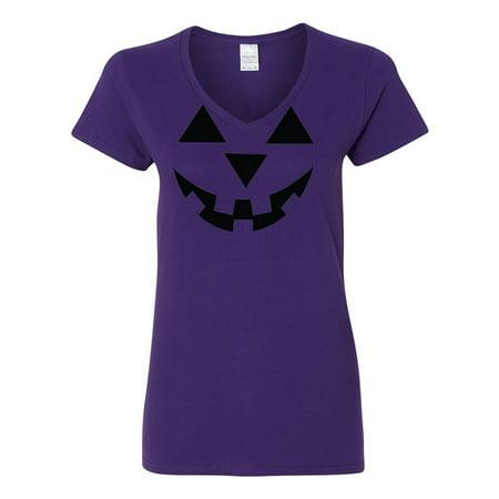 Purple Pumpkin (Jack O' Lantern Pumpkin Halloween Costume Womens V Neck T-Shirt)