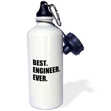 3dRose wb_184996_1 Best Engineer Ever - fun gift for engineering job - black text - Sports Water Bottle, 21oz - image 1 of 1