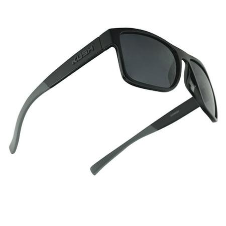 Men's Rectangular KUSH Horn Rimmed Classic Square Dark Tinted Sunglasses W/ Color Arm Tips ()
