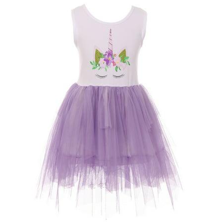 Toddler Girls Sleeveless Unicorn Tutu Tulle Birthday Party Flower Girl Dress Purple 2T XS (P501353P)](2t Birthday Dress)