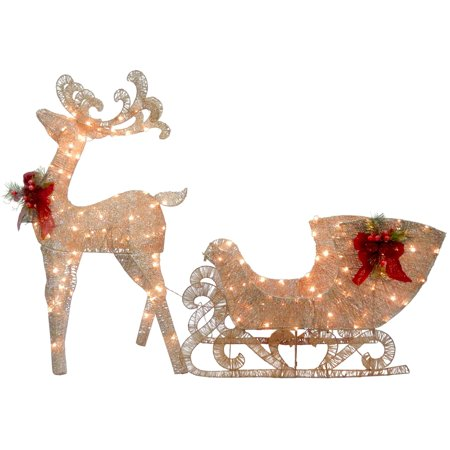 Reindeer and Santas Sleigh with LED Lights (Led Reindeer)