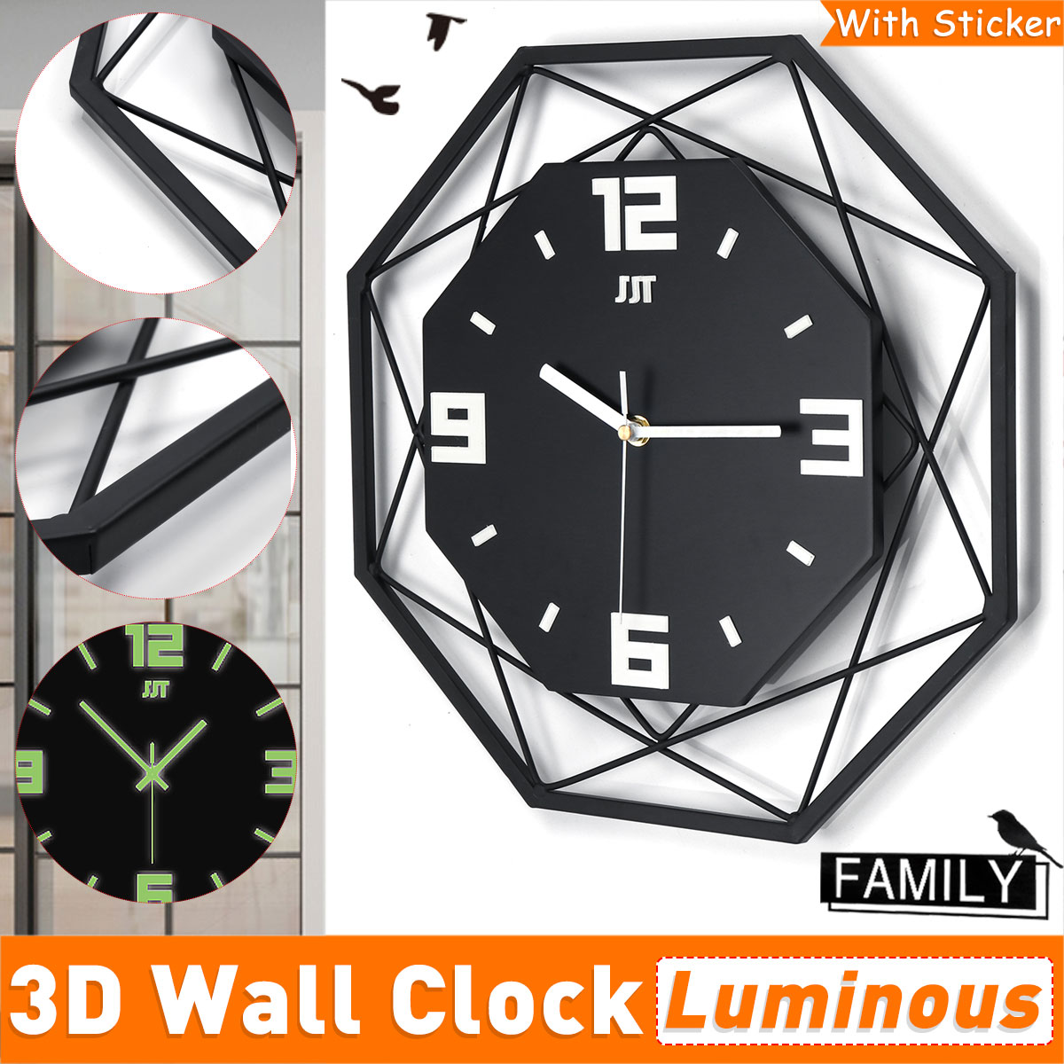 14 3d Silent Luminous Wall Clock Glow In The Dark Decorative Clocks Home Living Room Bedroom Decor Walmart Canada