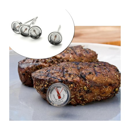 4-Pack Steak & Poultry Button Thermometer Set Reusable Food Meat BBQ Berbecue WLM8 CC6557_ ()