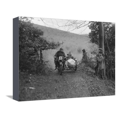 Norton and sidecar ridden by SL Grubb competing in the Inter-Varsity Trial, November 1931 Stretched Canvas Print Wall Art By Bill Brunell