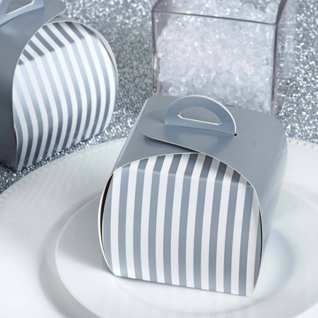Bridal Shower Paper (Efavormart Lovable Striped Cupcake Purse Favor Boxes for Candy Treat Gift Wrap Box for Bridal Shower Anniverary Wedding Party)