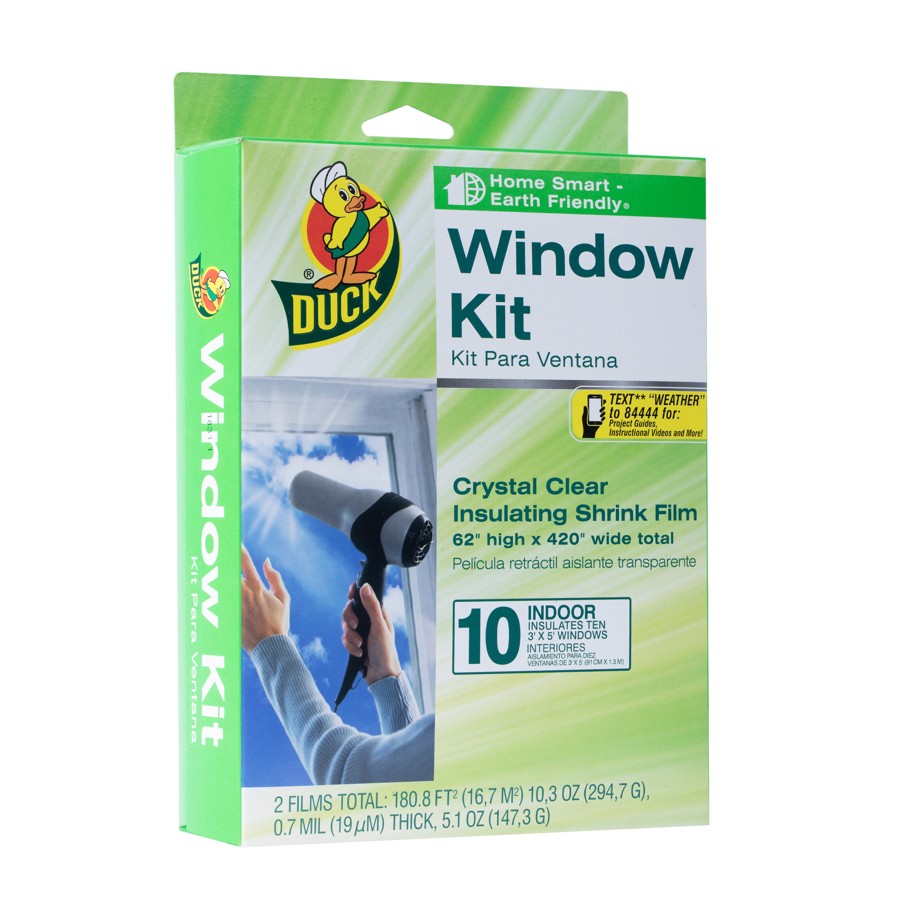 Duck Brand 10-Pack Clear Plastic Shrink Film Window Insulation Kit, 62 in. x 420 in.