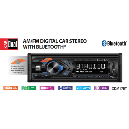 Dual Electronics XDM17BT High Resolution LCD Single DIN Car Stereo Receiver with Built-In Bluetooth, USB, MP3 Player & Siri/Google Assist Button Denon Dual Cd Player