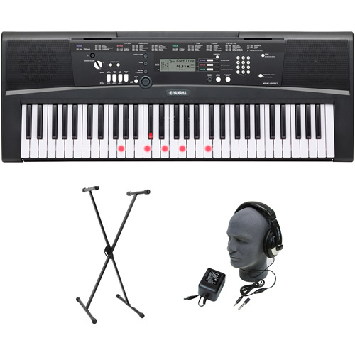 Yamaha EZ-220 61-Lighted Key Premium Portable Keyboard Package with Headphones, Stand and Power Supply