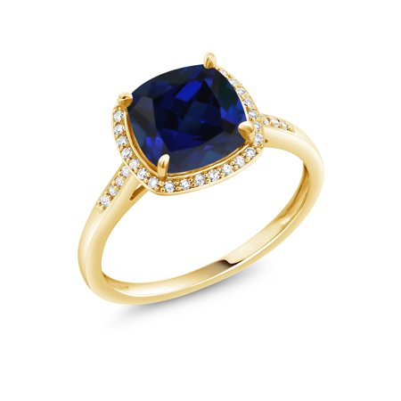 8m Sapphire - 2.50 Ct Cushion Blue Simulated Sapphire 10K Yellow Gold Ring