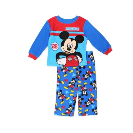 Disney Toddler Boys' Mickey Mouse 2-Piece Fleece Pajama Set, Blue/Red, Size: 2T (Disney Mickey Mouse 2 Piece)