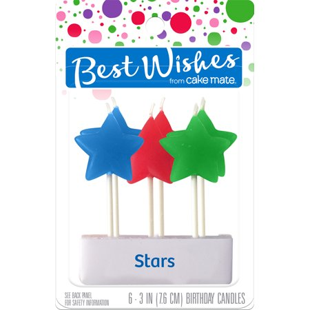 Best Wishes By Cake Mate Birthday Candles 6/Pkg-Star