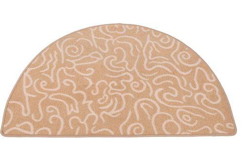 Beige White Half Round Hearth Rug 43 inch by