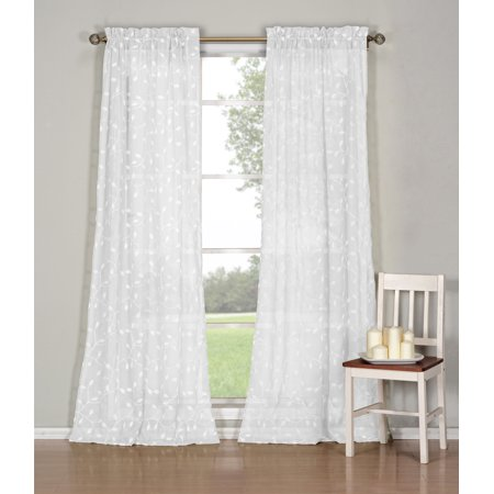 Emb Pocket - 2-Pack Kerr Leaf Braid Embroided Faux Linen 2-Tones Rod Pocket Pair Panel 40 in. W x 84 in. L in White