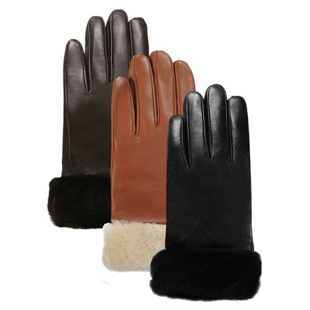 Luxury Lane Women's Shearling Fur Trim Cashmere Lined Lambskin Leather Gloves Cashmere Lined Lambskin Gloves