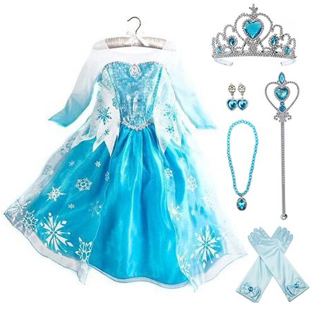 Frozen Elsa Dress Up Costume With Cosplay Accessories Crown Wand &