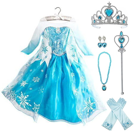 Frozen Elsa Dress Up Costume With Cosplay Accessories Crown Wand & Gloves - Elsa In Frozen Costume