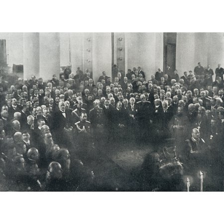 Nicholas Ii Last Emperor Of Russia 1868 To 1918 1916 Attends The Duma Or State Deliberative Assembly 1916 Photograph From L Illustration Magazine 1916 Canvas Art - Ken Welsh  Design Pics (17 x