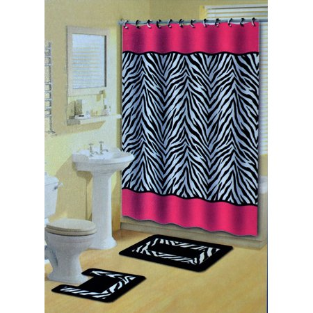 Home Dynamix Bath Boutique Shower Curtain And Rug Set 341 277 Pink