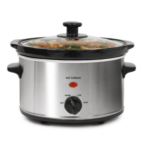 OEM Stainless Steel 2-quart Oval Slow Cooker with 3 Heat Settings