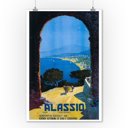Alassio, Italy - West Italian Riviera - Vintage Travel Poster (9x12 Art Print, Wall Decor Travel Poster)
