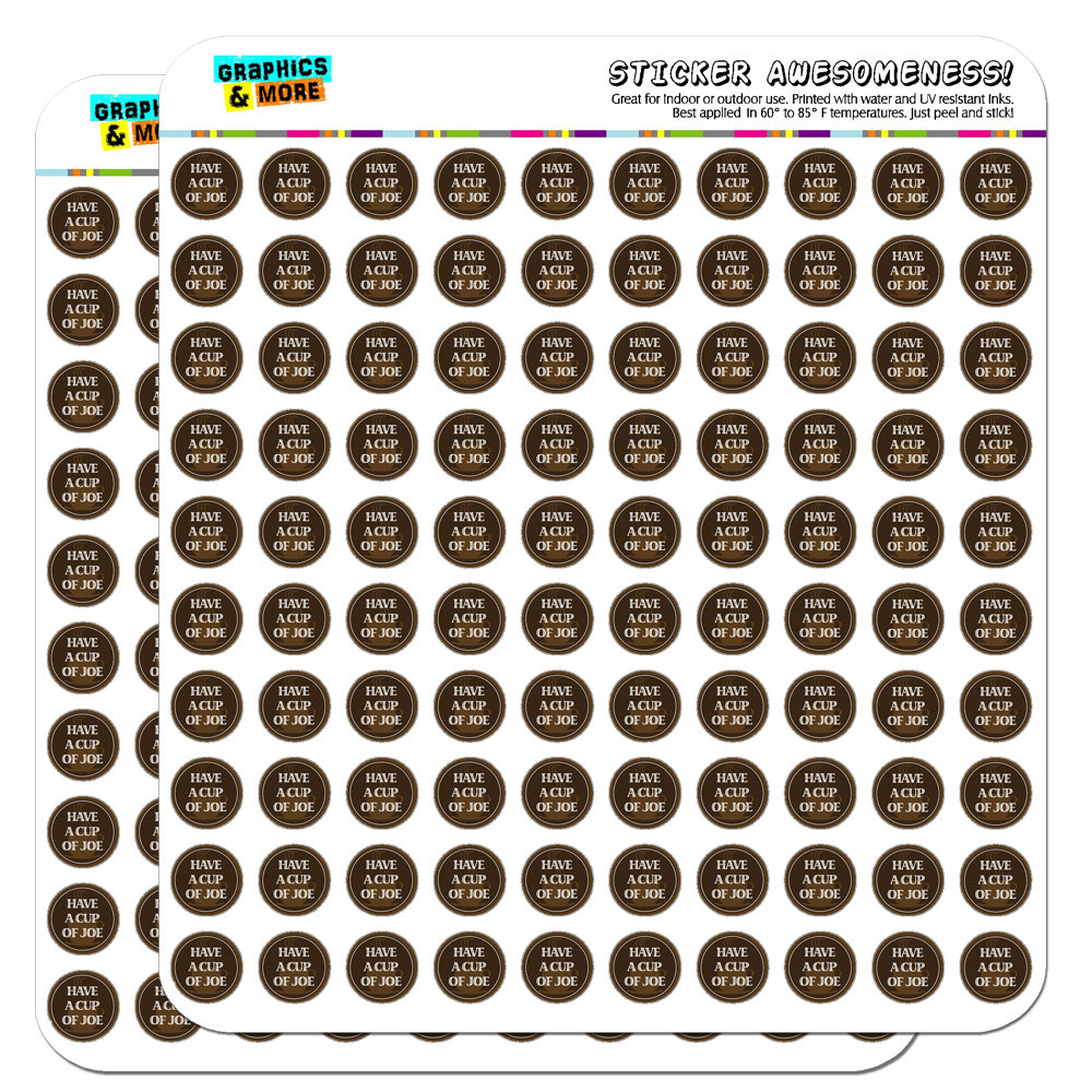 """""""Have A Cup Of Joe Coffee Love 1/2"""""""" (0.5"""""""") Scrapbooking Crafting Stickers"""""""