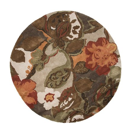 6' Brown, Olive Green and Orange Modern Petal Pusher Round Wool and Art Silk Area Throw -