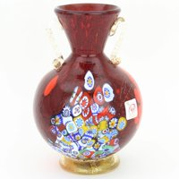 GlassOfVenice Murano Glass Millefiori Vase With Golden Handles - Red
