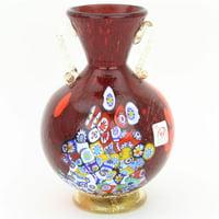 GlassOfVenice Murano Glass Millefiori Vase With Golden Handles - Red