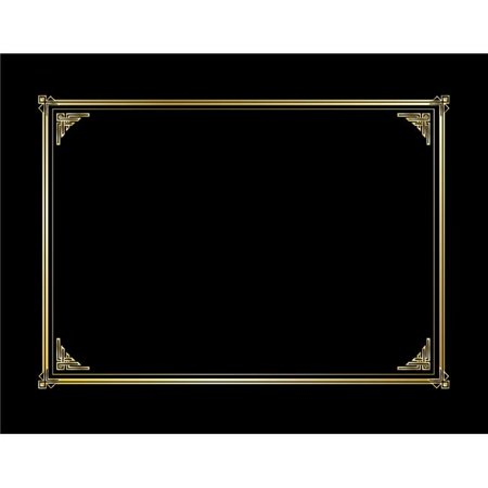Foil Stamped Black Linen - Gold Foil Black Linen Texture Document Cover - Pack of 6