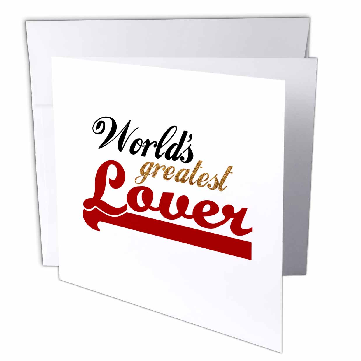 3dRose Worlds Greatest Lover - Funny romantic gifts - humorous fun love romance anniversary Valentines day, Greeting Cards, 6 x 6 inches, set of 6