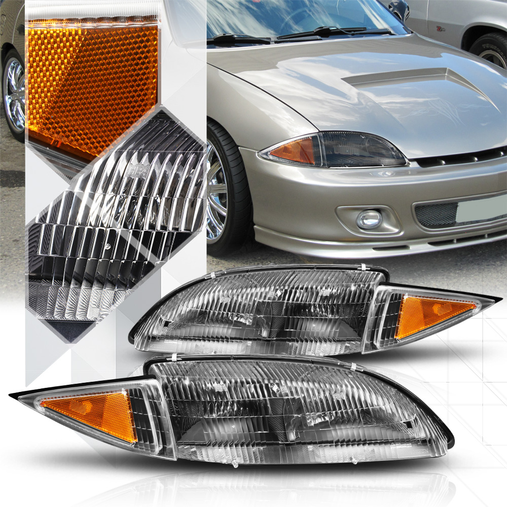 Black Housing Headlight Amber Turn Signal Reflector for 95-99 Chevy Cavalier 96 97 98