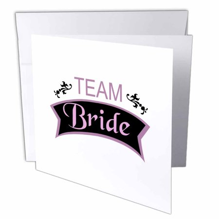 - 3dRose Team Bride in pink and black - fun pre-wedding girls night out - bridesmaids bachelorette hen party, Greeting Cards, 6 x 6 inches, set of 12