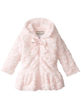 Little Girls' Hooded Big Bow Coat, Candy Dot Pink, Size: 6X