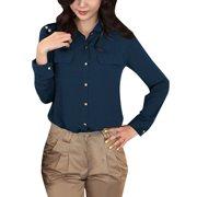 Women's Long Sleeve Casual Sheer Button Up Shirts White (Size XL / 16)