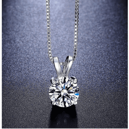 Genuine 1/2 Carat Natural Solitaire Round Cut Diamond 4 Prong Pendant Necklace In 14K White Gold