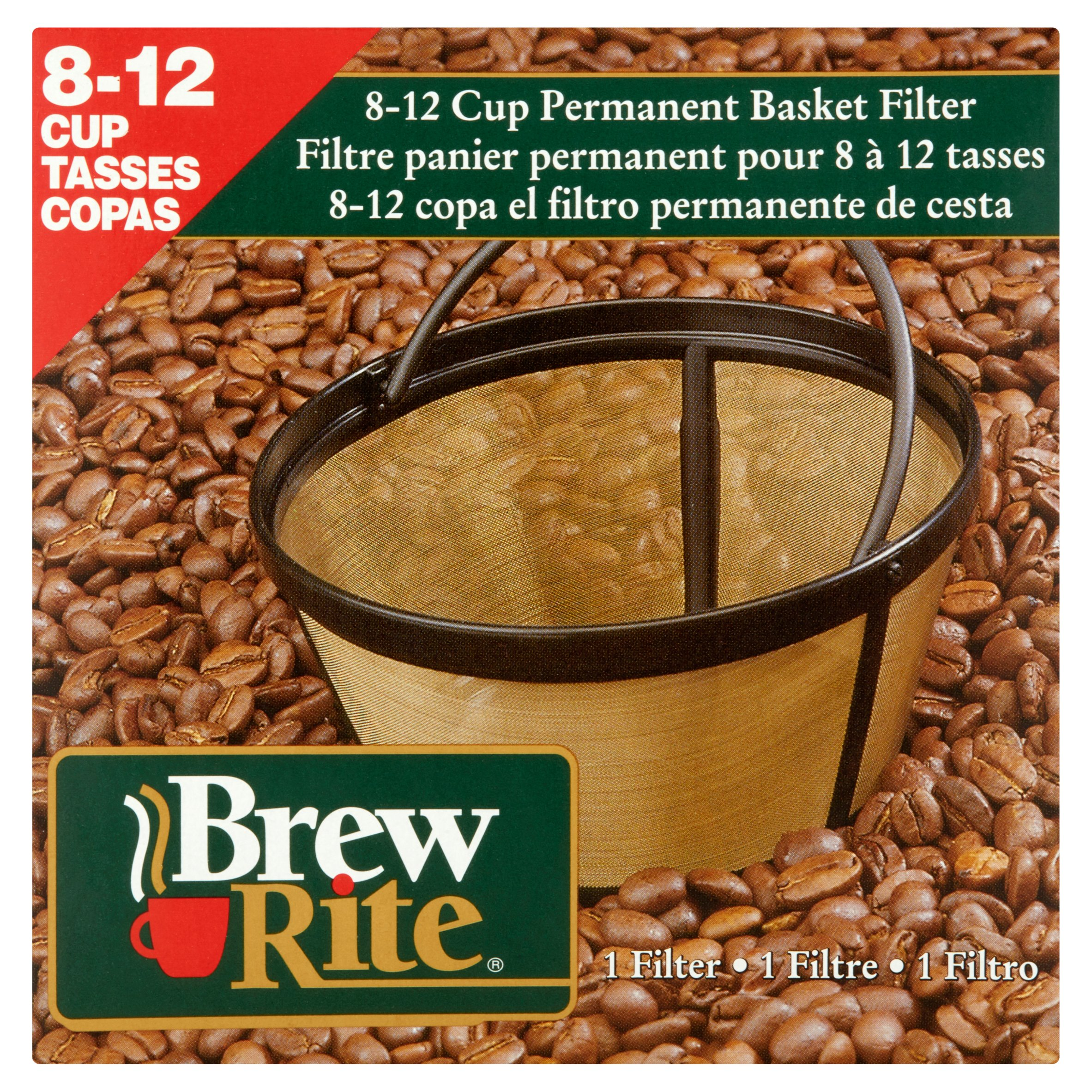Brew Rite 8-12 Cup Permanent Coffee Filter, Basket Style G30010W/6