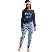 JV Apparel Women's and Women's Plus Printed 3-Piece Micro Fleece Set with Hat