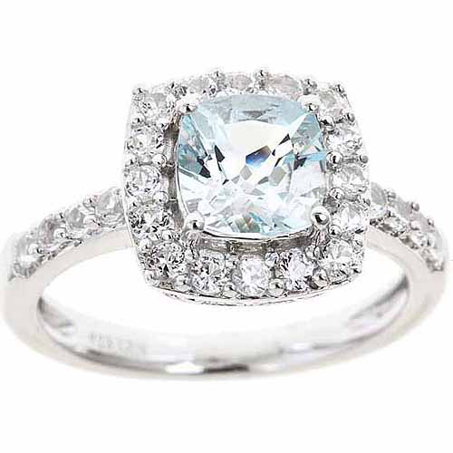 Created Aquamarine and Created White Sapphire Sterling Silver Ring, Size 7 by Unique Designs Inc.