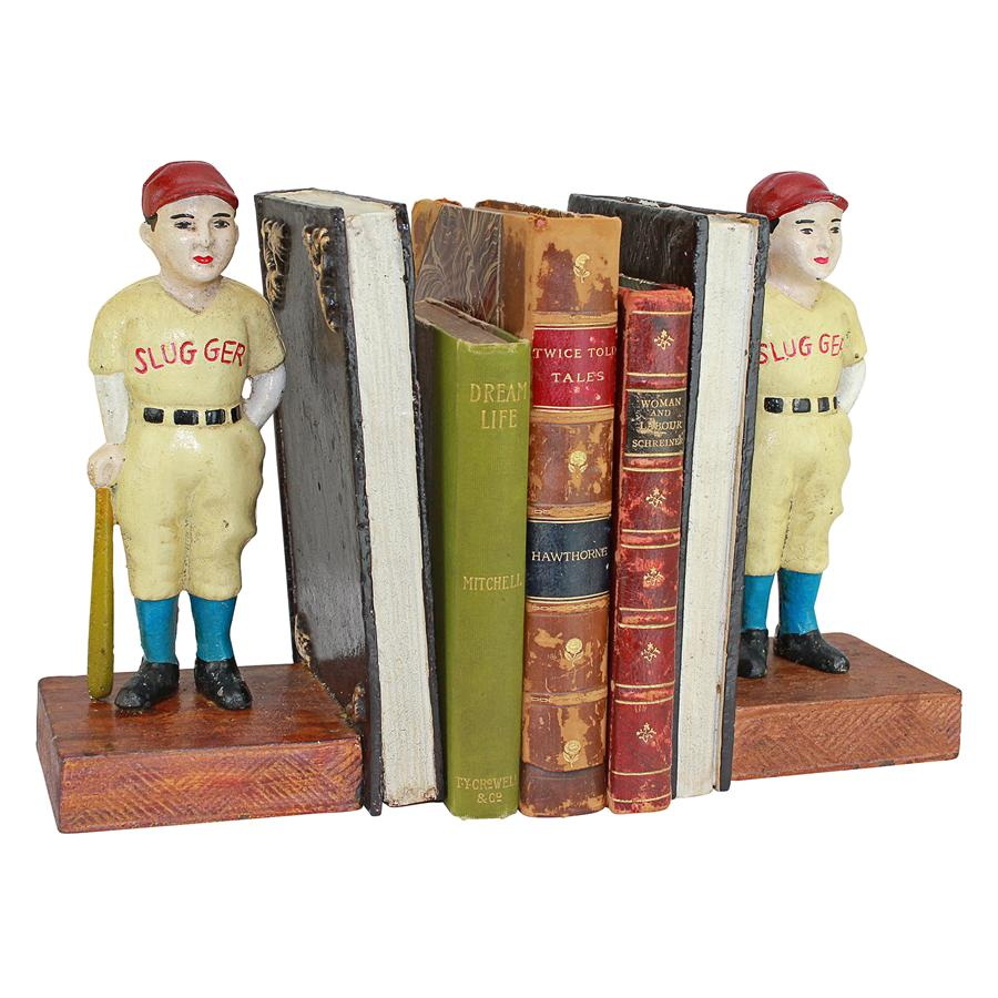Batter Up! Vintage Baseball Slugger Cast Iron Sculptural Bookend Pair by Design Toscano