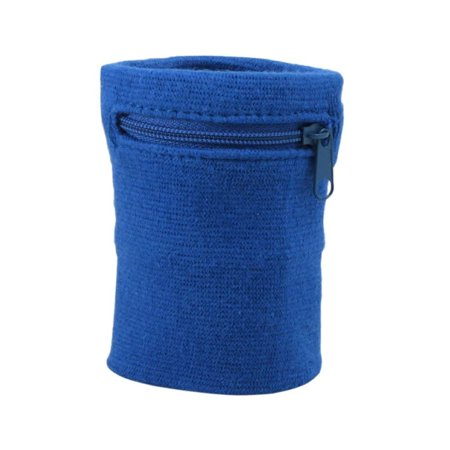Suddora Zipper Wrist Pouch - Sweatband/Wristband Wallet for Keys, ID, Cards, Cash (Blue)