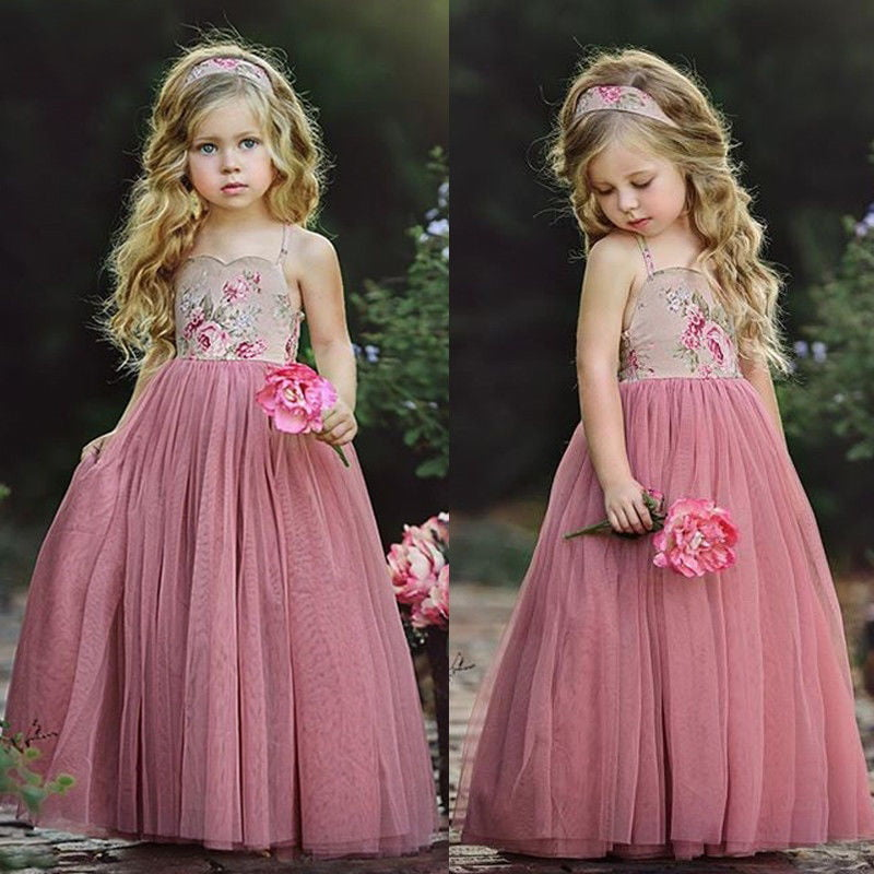 New Lace Flower Bridesmaid Princess Wedding Girls Dress Tulle Party Kids Clothes