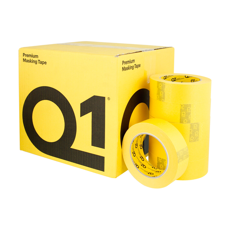 Q1 1 1/2 inch (36mm X 55m) Premium High Performance Yellow Masking Tape - High Temperature - Case of 24 Rolls